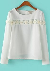 White Long Sleeve Applique Loose Blouse