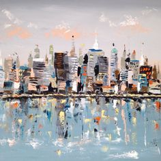 Artist: Emma Bell Dimensions: Multiple Sizes Available. All size options are approximate and may not be the exact dimensions displayed. Cityscape Giclee Medium: Hand Varnished Giclee Surface: Canvas w