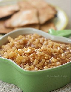 Apple pie salsa and cinnamon sugar tortillas  This tastes like fall! I made this 4 times this fall and it was the first thing to go at every party.  When I'm being lazy, I buy Stacey's cinnamon pita chips to go with it.  Follow the directions exactly. You might be tempted to add more liquid, but the apples really do get juicy.