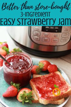 3 Ingredient Instant Pot Strawberry Jam – Food for Healty Instant Pot Pressure Cooker, Pressure Cooker Recipes, Pressure Cooking, Pavlova, Homemade Strawberry Jam, No Pectin Strawberry Jam Recipe, Strawberry Spread Recipe, Strawberry Perserves Recipe, Making Strawberry Jam