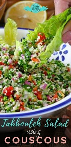 Tabbouleh or tabouli is a Mediterranean dish made of finely chopped parsley, tomatoes, mint, onion, and bulgur. It is a super refreshing and healthy vegetarian Levantine salad. | www.foxyfolksy.com #Tabboulehsalad #veggiesalad #vegetarian #sidedish