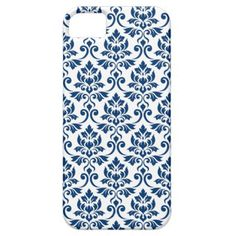 Feuille Damask Pattern Dark Blue on White iPhone SE/5/5s Case  $29.65  by NataliePaskellDesign  - custom gift idea