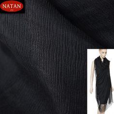 Jedwab naturalny szyfon BLACK Czarny