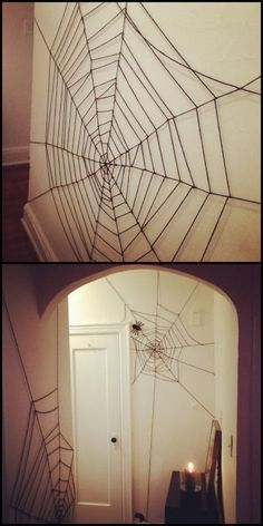 DIY Very Cheap and Easy Yarn Spiderweb Tutorial from Crafty Lumberjacks.For the cost of a cheap skein of yarn, transform the interior of your house or apartment. #halloweendecorating