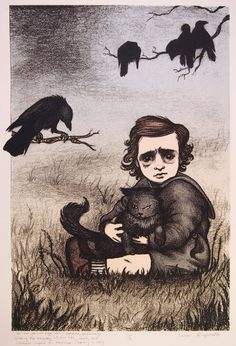 Baby Edgar Allan Poe Toddler with cat - original screenprint by Carrie Lingscheit on Etsy, $150.00