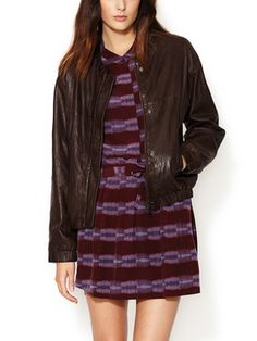 Leather Seed Stitched Jacket from leather jacket on Gilt