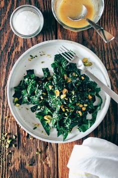 Kale Salad with Miso Vinaigrette. A healthy recipe for kale salad tossed in a flavor-packed miso-lemon vinaigrette. Real Food Recipes, Vegetarian Recipes, Cooking Recipes, Healthy Recipes, Sprouts Salad, Brussel Sprout Salad, Brussels Sprout, Kale Salad Recipes, Salads