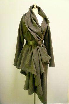 Wool Asymmetric Wrap Duster Jacket Coat