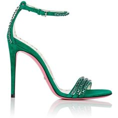 Gucci Women's Ilse Suede Sandals (£915) ❤ liked on Polyvore featuring shoes, sandals, green, green high heel shoes, high heel stilettos, green sandals, high heeled footwear and green shoes