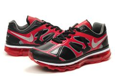 Danmark Billige Nike Air Max 2012 Leather Trainers Mænd - Black/Red/White