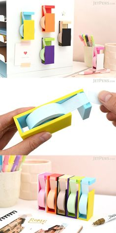 Use this cute portable cutter to store washi tape and easily tear off clean strips whenever you need them.