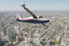 """With 14 electric motors turning propellers and all of them integrated into a uniquely-designed wing, NASA will test new propulsion technology using an experimental airplane now designated the X-57 and nicknamed """"Maxwell."""" This concept image illustrates NASA's X-57 plane in flight."""