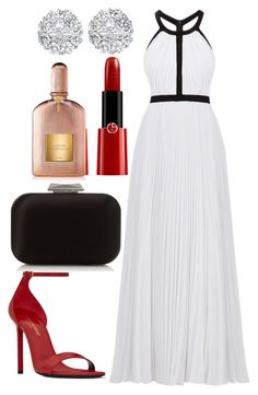 """""""Untitled #3682"""" by fcharese ❤ liked on Polyvore featuring Jimmy Choo, Nicole Miller, Yves Saint Laurent, Giorgio Armani, Allurez and Tom Ford"""