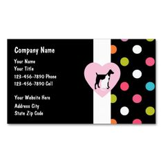 Pet Care Business Cards. This great business card design is available for customization. All text style, colors, sizes can be modified to fit your needs. Just click the image to learn more!