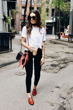 Cute casual outfit in black and white with pop of red.