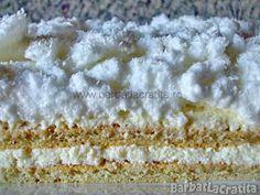 Prajitura cu crema de cocos Romanian Desserts, Romanian Food, Coconut Cream, Vanilla Cake, Deserts, Cooking Recipes, Sweets, Cream Cake, Drinks