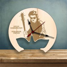 Items similar to Steve Harrington clock, Stranger Things Wood Clock, Gifts for Her, Gifts for Him on Etsy Steve Harrington Stranger Things, Laser Cutter Projects, Wood Clocks, Wood Veneer, Gifts For Him, Etsy Shop, Design, Awesome, Shirts