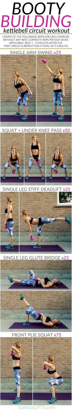 Booty Building Kettlebell Circuit Workout || lushiousLIFTS.com