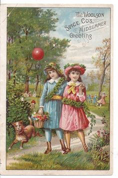 Victorian The Woolson Spice Co Midsummer Greeting Trade Card 2 Girls Dog Park | eBay