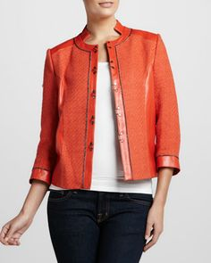 Brilliant poppy cut-out Bagatelle Tweed-Textured Leather Jacket