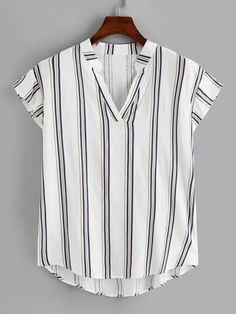 Shop Plus Dip Hem Striped V-neck Blouse online. SHEIN offers Plus Dip Hem Striped V-neck Blouse & more to fit your fashionable needs. Plus Size Blouses, Plus Size Tops, Plus Size Women, V Neck Blouse, Blouse Online, Spring Outfits, Plus Size Outfits, Plus Size Fashion, Fashion News