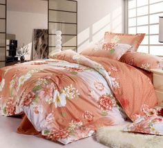 Great Floral Printing Orange 4 Pieces Cotton Comforter Bedding Sets