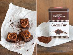 Brezel-Brownies mit Karamell