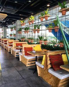 WEBSTA @ amearquitetura - Detalhe deste restaurante no @casashopping , que usa estrutura em ferro para suportar vasos de plantas. ☘ Uma boa idéia para permear a vista e limitar espaço. Adorei também o mobiliario com sobras de madeira, e pallets. Colorido e inspirador!  Projeto de Andre Rodrigues, paisagismo Bem Verde e mobiliário Casa Com Pallet! .➡️ www.amearquitetura.com #amearquitetura #amearquiteturanorio #olioli #olioliteam #oliolinorio #decoração #casashopping #arquitetura #design ...