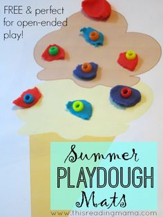 FREE Summer Playdough Mats ~ great for fine motor skills and creative play {open-ended mats!} | This Reading Mama