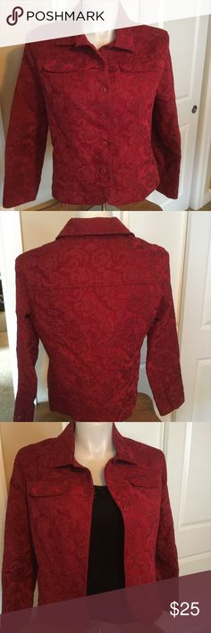 LN BEAUTIFUL BLAZER. WEAR W/JEANS OR DRESS IT UP💋 BLAZER IS HIGH QUALITY BEAUTY. COLOR IS AS SHOWN LIKE A LOVELY RED WINE. 59% RAYON, 41%POLYESTER. 5 BUTTON DOWN FRONT & 2 BUTTONS ON EACH CUFF. 2 FAUX POCKETS ON FRONT. NICELY TAILORED. PERFECT FOR YOUR CHRISTMAS 🎄 PARTY OR YEAR ROUND WEAR. GREAT WITH A BLACK SKIRT OR SLACKS BUT ALSO PERFECT TO WEAR WITH JEANS. YOU WILL ❤️️ THIS JACKET❣️3RD PIC IS SHOWN WITH BLACK TOP BY JONES NEW YORK LISTED IN MY CLOSET. croft & barrow Jackets & Coats…