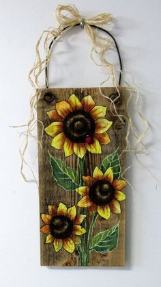 Sunflowers Yellow, Tole Painted on Reclaimed Barn Wood, Summer Time Flowers, Reclaimed Wood, Three Yellow Sunflowers and Red Lady Bug Sunflowers Yellow Tole Painted on Reclaimed by barbsheartstrokes Pallet Painting, Pallet Art, Tole Painting, Painting On Wood, Pallet Boards, Sunflower Crafts, Sunflower Art, Yellow Sunflower, Sunflower Decorations