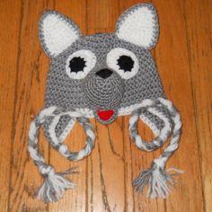 Crochet Earfalp Wolf Hat Grey Wolf Hat by RevelynsHandcrafts Wolf Hat, Animal Hats, Hat Making, Baby Hats, Upcycle, Halloween Costumes, Crochet Hats, Sweater, Trending Outfits