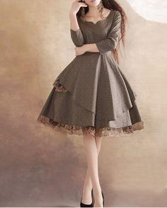 Gray lace dress Linen Cotton dress women dress fashion dress Long sleeve dress---WD033 from happyfamily on Storenvy