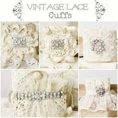 Vintage Lace Cuffs Jewelry Crafts, Jewelry Art, Handmade Jewelry, Fashion Jewelry, Lace Cuffs, Burlap Lace, Denim And Lace, Linens And Lace, Tela