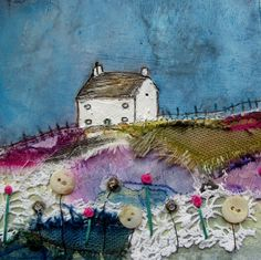 'Meadow lane cottage' by Louise O'Hara DrawntoStitch https://www.facebook.com/DrawntoStitch