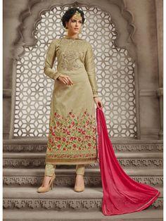 Golden And Pink Boat Neck Embroidered Detail Churidar Suit Latest Salwar Kameez, Salwar Kameez Online, Churidar Suits, Anarkali Churidar, Designer Suits Online, Designer Salwar Suits, Indian Fashion Dresses, Online Fashion Stores, Indian Designer Wear