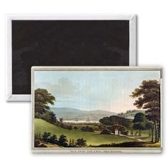 View from the Fort, near Bristol, from 'Observations on the Theory and Practice of Landscape Gardening by Humphrey Repton (1752-1818) (coloured aquatint without overlay) (see also 245523) by English School - 3x2 inch Fridge Magnet - large magnetic button - Magnet - inches $4.99