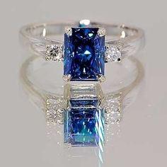 Trendy Diamond Rings : Platinum ring with emerald-cut blue sapphire and diamond accents. - Buy Me Diamond Custom Class Rings, I Love Jewelry, Fine Jewelry, Women's Jewelry, Jewelry Stores, Sapphire Jewelry, Sapphire Rings, Daisy Jewellery, Ruby Rings