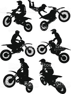 Silhouettes of a motocross rider performing stunts royalty-free silhouettes of a motocross rider performing stunts stock vector art & more images of extreme sports Baby Shower Motorcycle, Motorcycle Baby, Motorcycle Gifts, Chain Tattoo, Silhouettes, Motocross Riders, Man Sketch, Sports Graphics, Extreme Sports