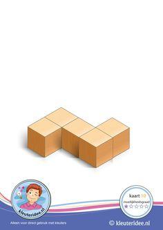 Bouwkaart 10 moeilijkheidsgraad 1 voor kleuters, kleuteridee, Preschool card building blocks with toddlers 10, difficulty 1