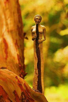 Split Woman, Driftwood Sculpture by Debra Bernier