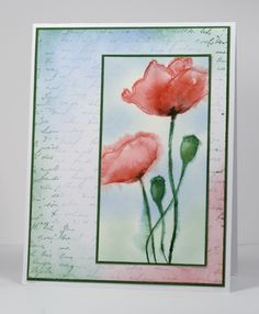Faux Watercolor technique by Heather Telford: Stemp poppy flowers in red on wet watercolor paper; stamp stems in green. Blend and spread the bleeding ink with a brush. Add more ink here and there with markers. Sponge around poppy with blue & green. Stamp background mat text in blue & green. Sponge on red, blue, & green in select areas.
