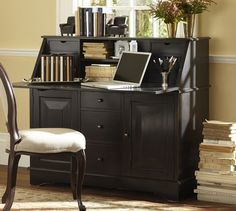Graham Desk & Hutch | Pottery Barn - this could also work against the wall between the bath and closet (it would match the hanging cabinet that would conceal the tv)