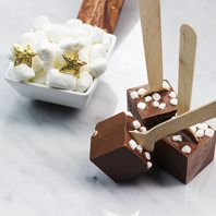 Marshmallow Stuffed Hot Chocolate on a Spoon