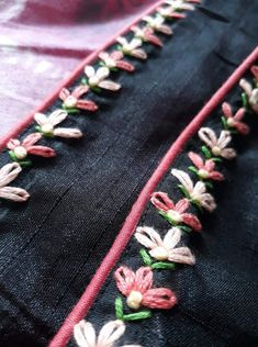 I will definitely make this in my new dress Border Embroidery Designs, Basic Embroidery Stitches, Hand Embroidery Videos, Embroidery Suits Design, Hand Embroidery Tutorial, Hand Work Embroidery, Embroidery On Clothes, Embroidery Flowers Pattern, Simple Embroidery