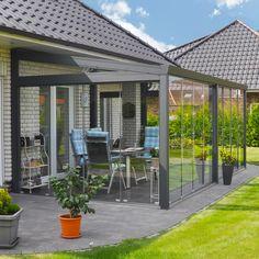 Komplett hagestue Relaxing Colors, Roof Structure, Pergola Designs, Grey Stone, Aluminium, Beams, Tile Floor, Opal, Living Spaces