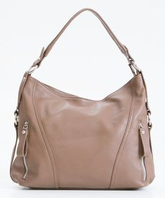 Another great find on #zulily! Taupe Harness Leather Hobo #zulilyfinds