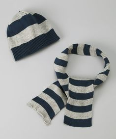 Take a look at this Gray Stripe Beanie & Scarf by Blow-Out on #zulily today! #fall #zulily