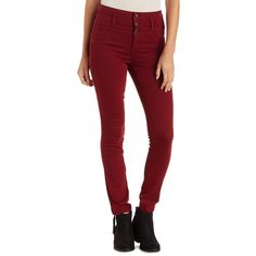 Refuge Hi-Waist Super Skinny Colored Jeans ($33) ❤ liked on Polyvore featuring jeans, pants, wine, skinny leg jeans, high waisted skinny jeans, stretch skinny jeans, super high-waisted skinny jeans and stretchy skinny jeans