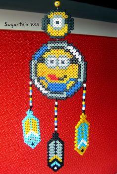 Minion dreamcatcher hama beads by Sugarteix Pearler Bead Patterns, Bead Loom Patterns, Perler Patterns, Beading Patterns, Minions, Minion Doll, Diy Perler Beads, Peler Beads, Iron Beads